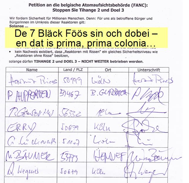 Unterschriften der Bläck Fööss