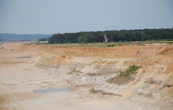 An der Tagebaukante verliert der Boden permanent Wasser aus den speicherfähigen Schickten. Aufnahme nach 5 Wochen Trockenheit Anfang Juni 2020
